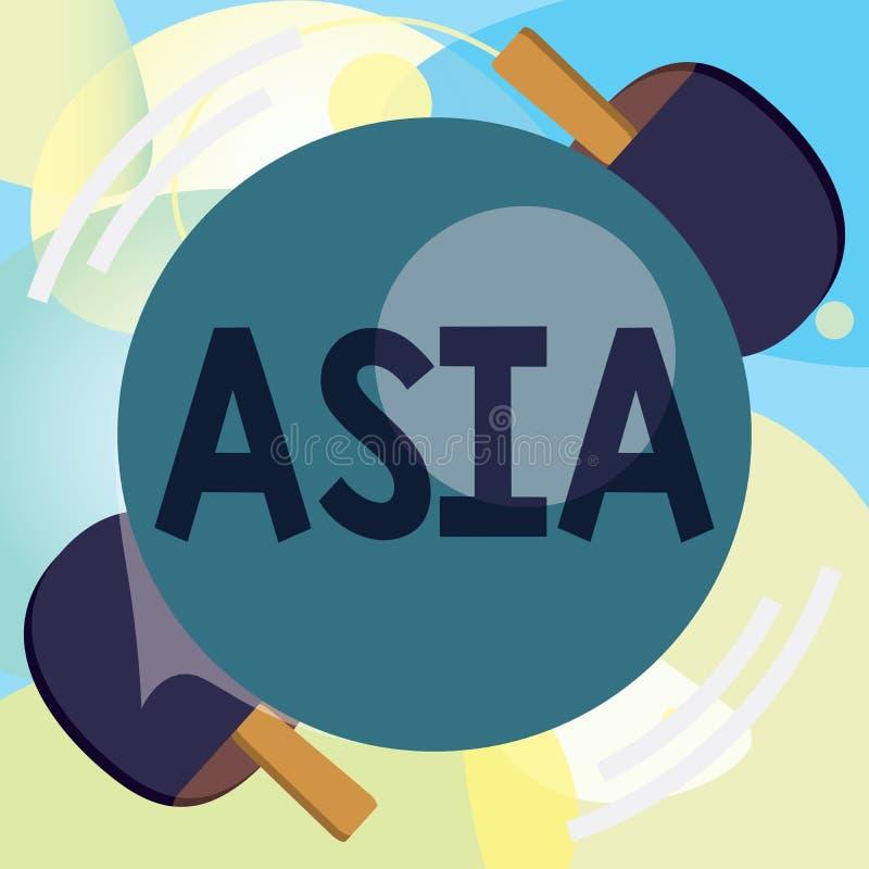 Konceptualny ręki writing pokazuje Azja Biznesowy fotografia tekst Wielki, ludny kontynent Wschodni i północna półkula royalty ilustracja