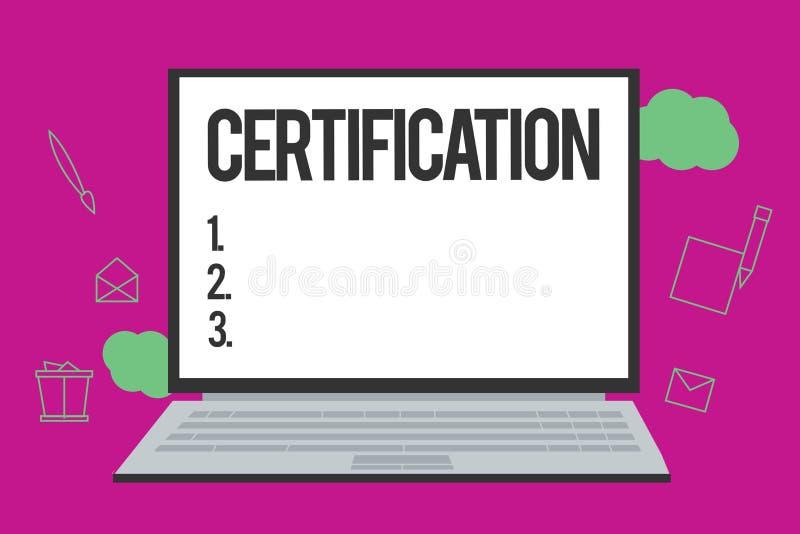 Konceptualny ręki writing pokazuje certyfikat Biznesowy fotografia tekst Pod warunkiem, że someone poświadcza status z urzędowym  ilustracja wektor