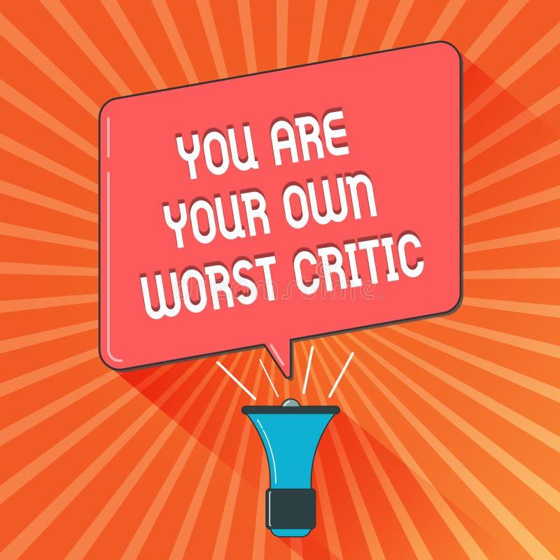 Konceptualny ręki writing pokazuje Ciebie Jest Twój Swój Złym krytykiem Biznesowa fotografia pokazuje zbyt mocno na jaźni pozytyw royalty ilustracja