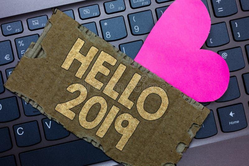 Konceptualny ręki writing pokazuje cześć 2019 Biznesowy fotografia tekst Mieć_nadzieja dla wielkości zdarzać się dla nadchodząceg ilustracja wektor
