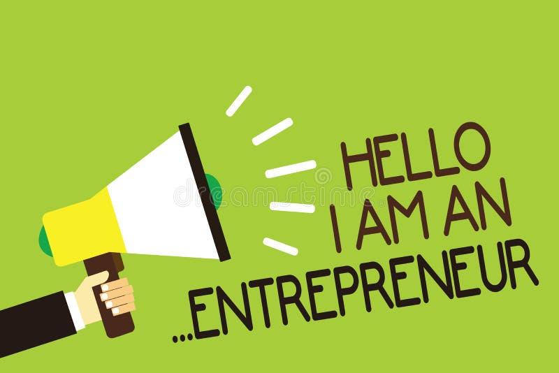 Konceptualny ręki writing pokazuje cześć Jestem przedsiębiorca Biznesowa fotografia pokazuje osoby która ustawia w górę biznesu l ilustracja wektor