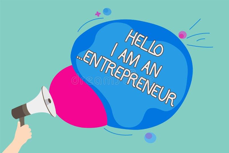 Konceptualny ręki writing pokazuje cześć Jestem przedsiębiorca Biznesowa fotografia pokazuje osoby która ustawia w górę biznesu l ilustracji