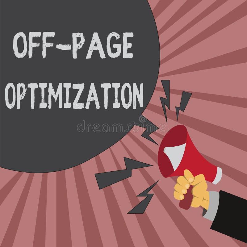 Konceptualny ręki writing pokazuje Daleko strona optymalizacja Biznesowa fotografia pokazuje strony internetowej External proces  ilustracji