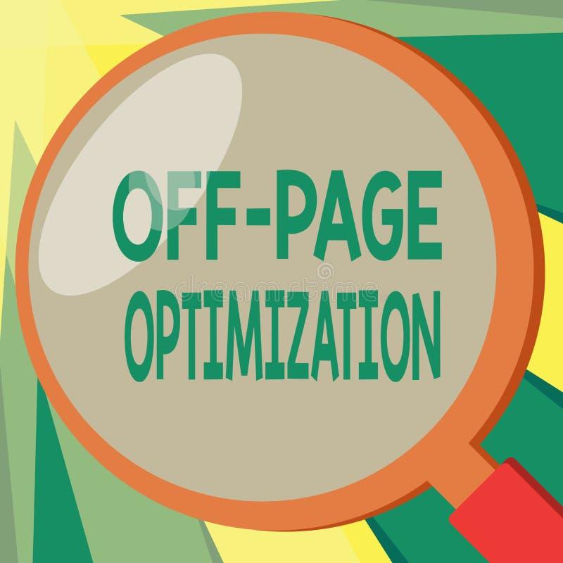 Konceptualny ręki writing pokazuje Daleko strona optymalizacja Biznesowa fotografia pokazuje strony internetowej External proces  ilustracja wektor