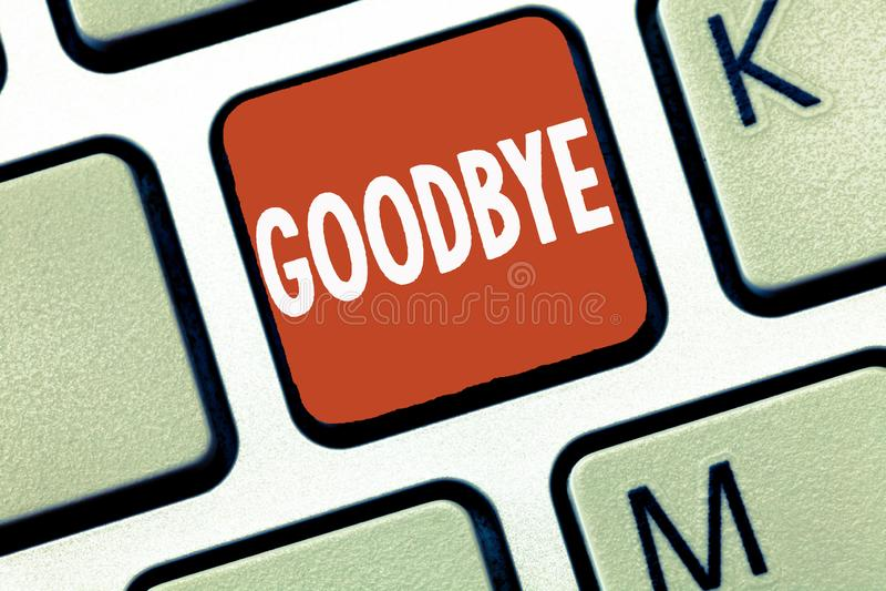 Konceptualny ręki writing pokazuje Do widzenia Biznesowa fotografia pokazuje powitanie dla opuszczać pożegnanie Widzii ciebie wkr zdjęcia royalty free