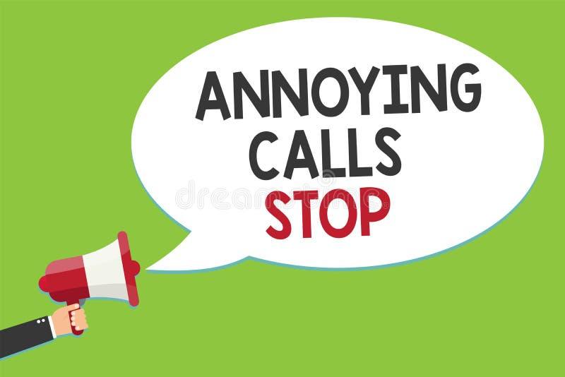 Konceptualny ręki writing pokazuje Dokuczający wezwanie przerwę Biznesowy fotografia tekst Zapobiega spamów telefony Blacklisting ilustracji
