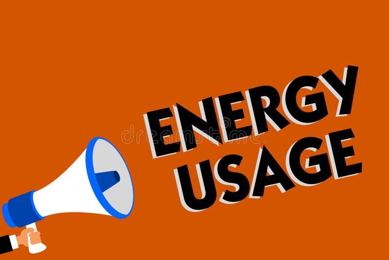 Konceptualny ręki writing pokazuje Energetycznego użycie Biznesowa fotografia pokazuje kwotę spożywającą lub używać w energia pro ilustracji