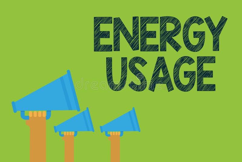 Konceptualny ręki writing pokazuje Energetycznego użycie Biznesowa fotografia teksta kwota spożywająca lub używać w energia proce ilustracji
