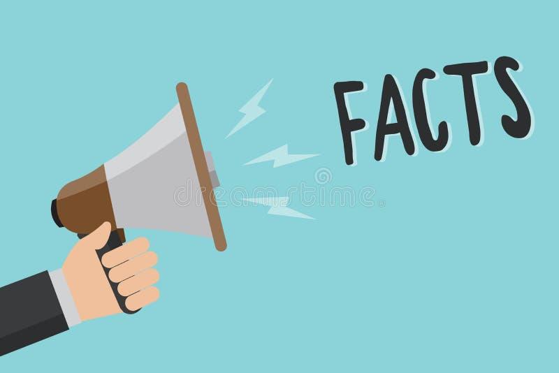 Konceptualny ręki writing pokazuje fact Biznesowa fotografia pokazuje informację używać jako dowód lub część raportowa wiadomość ilustracji