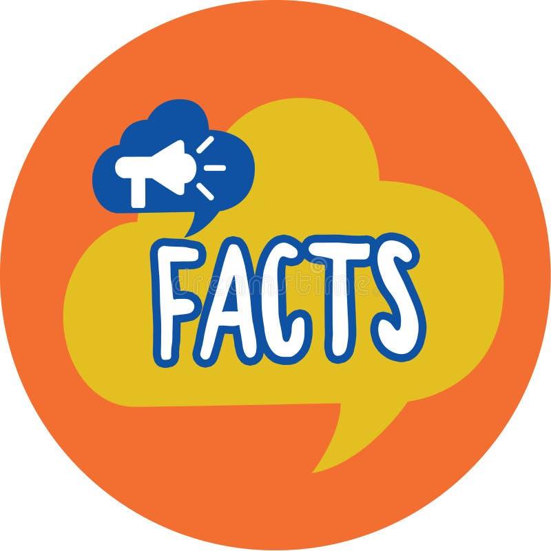 Konceptualny ręki writing pokazuje fact Biznesowa fotografia teksta informacja używać jako dowód lub część raportowy artykuł pras royalty ilustracja