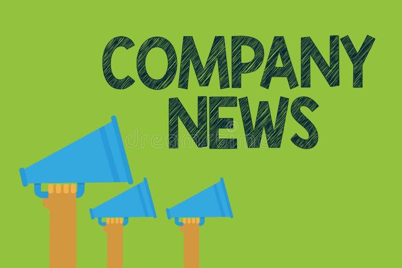Konceptualny ręki writing pokazuje firmy wiadomość Biznesowego fotografia teksta Opóźniona informacja i zdarzać się na biznesowym ilustracji