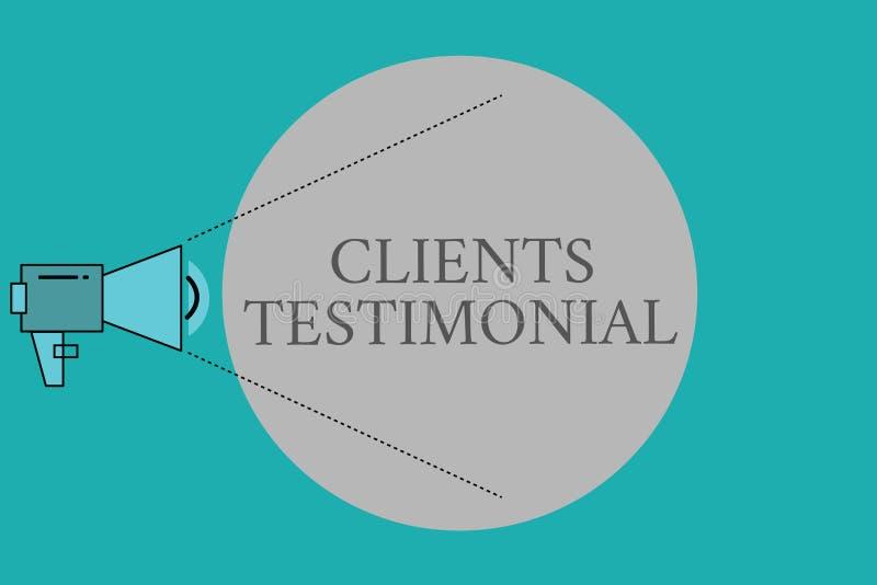 Konceptualny ręki writing pokazuje klientom Testimonial Biznesowego fotografia teksta Formalny oświadczenie Zeznaje Szczerego pop ilustracja wektor