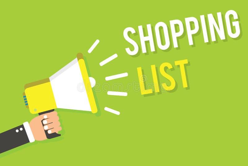 Konceptualny ręki writing pokazuje liście zakupów Biznesowego fotografia teksta dyscypliny podejście robić zakupy Podstawowe rzec ilustracja wektor