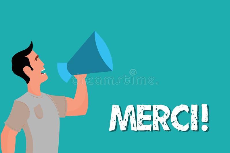 Konceptualny ręki writing pokazuje Merci Biznesowy fotografia tekst definiujący jak dziękuje ty w Francuskim języku Jest wdzięczn royalty ilustracja