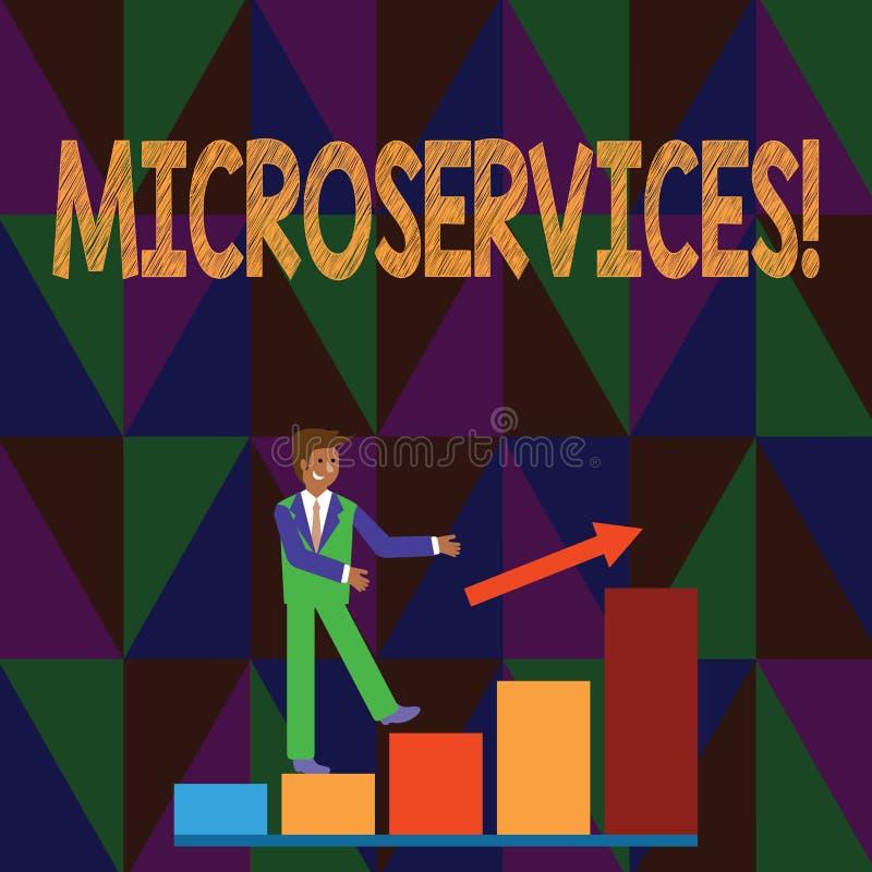 Konceptualny ręki writing pokazuje Microservices Biznesowy fotografia teksta rozwój oprogramowania techniki Decomposing ilustracja wektor