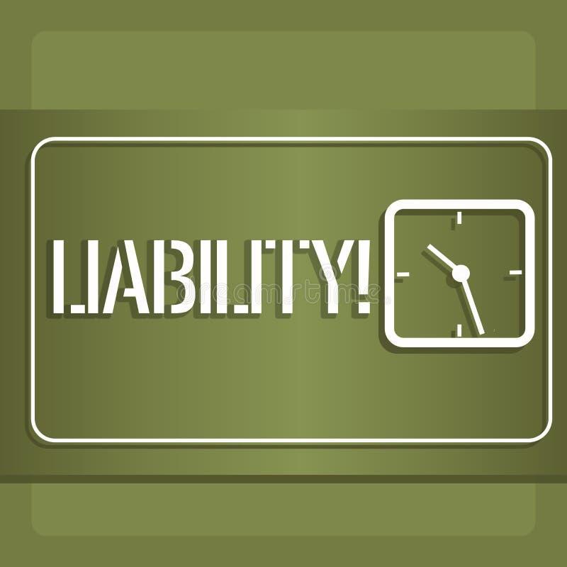 Konceptualny ręki writing pokazuje odpowiedzialność Biznesowa fotografia pokazuje stan być legalnie odpowiedzialny dla coś ilustracji