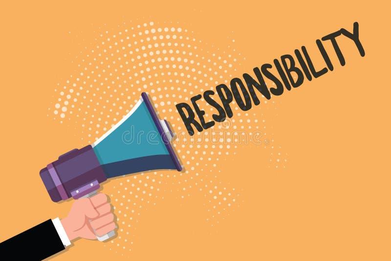Konceptualny ręki writing pokazuje odpowiedzialność Biznesowy fotografia tekst Ma kontrola nad someone akt być odpowiedzialny ilustracji