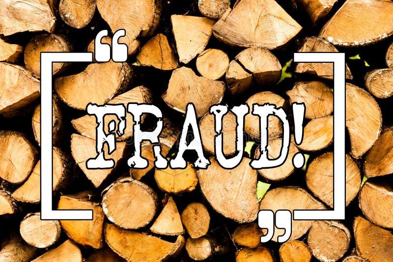 Konceptualny ręki writing pokazuje oszustwo Biznesowa fotografia pokazuje Kryminalnego łudzenie dostawać pieniężny lub demonstrat zdjęcia stock