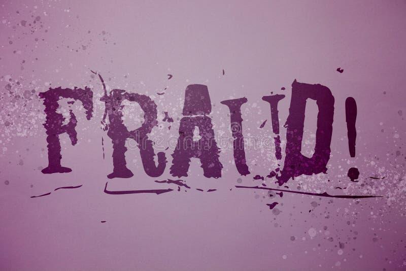 Konceptualny ręki writing pokazuje oszustwu Motywacyjnego wezwanie Biznesowego fotografia teksta Kryminalny łudzenie dostawać pie zdjęcia royalty free