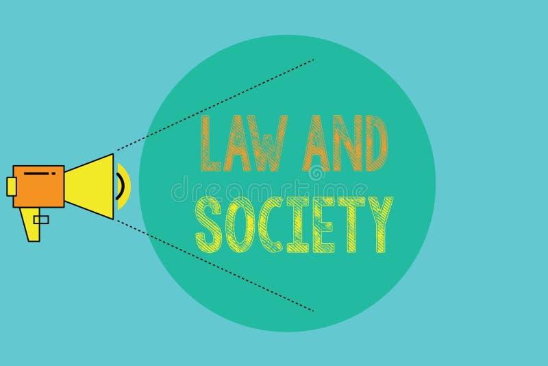 Konceptualny ręki writing pokazuje prawo I społeczeństwa Biznesowa fotografia pokazuje adres wspólny związek między prawem ilustracji