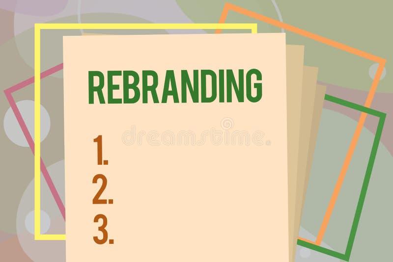 Konceptualny ręki writing pokazuje Rebranding Biznesowej fotografia teksta zmiany korporacyjny wizerunek firmy organizaci marketi royalty ilustracja