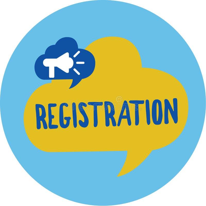 Konceptualny ręki writing pokazuje rejestrację Biznesowa fotografia pokazuje akcję lub proces registratura lub rejestruje ilustracji
