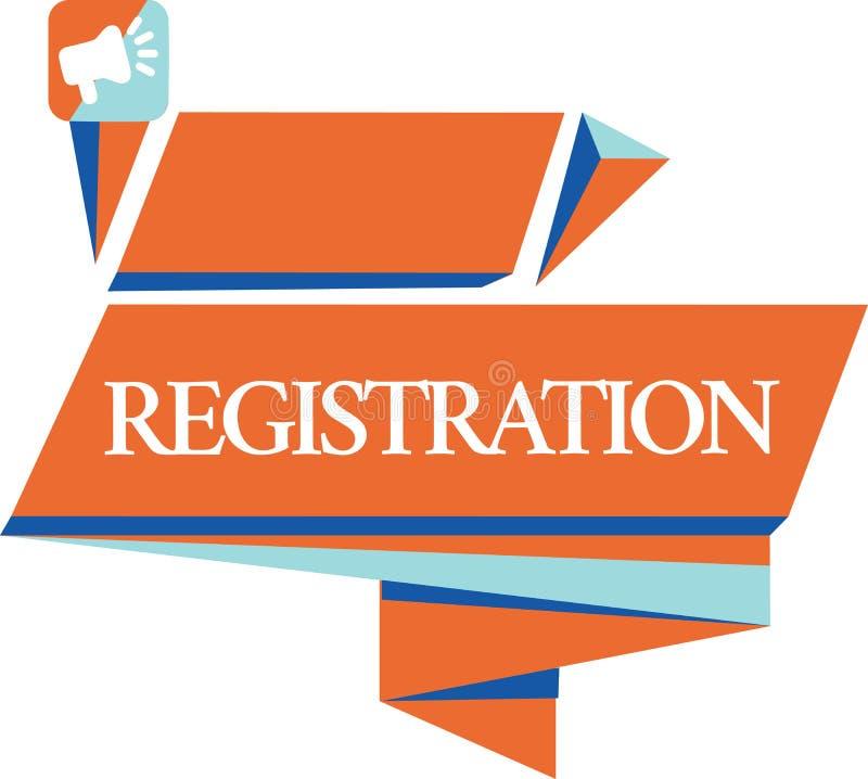 Konceptualny ręki writing pokazuje rejestrację Biznesowa fotografia pokazuje lub jest akcję lub proces registratura ilustracja wektor