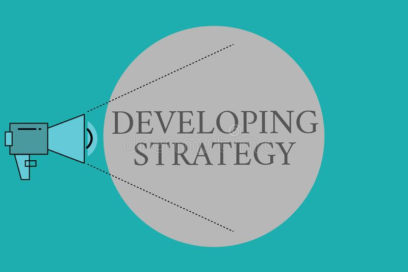 Konceptualny ręki writing pokazuje Rozwija strategię Biznesowy fotografia teksta organizacj proces Zmienia dosięgać ilustracja wektor