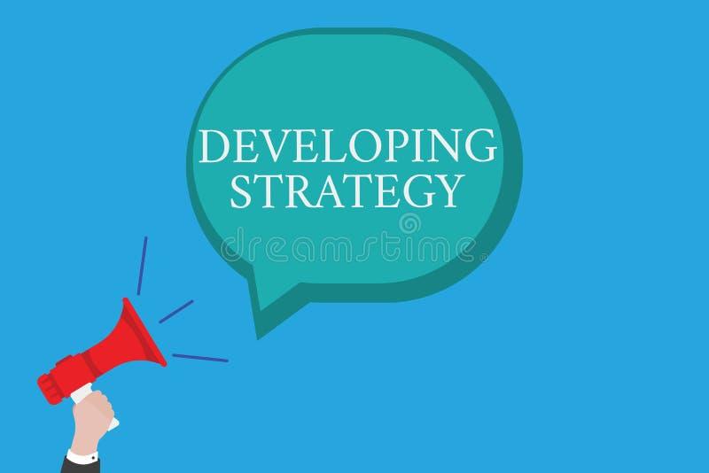 Konceptualny ręki writing pokazuje Rozwija strategię Biznesowy fotografia teksta organizacj proces Zmienia dosięgać royalty ilustracja