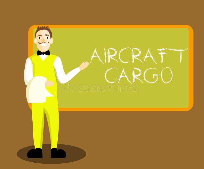 Konceptualny ręki writing pokazuje samolotu ładunek Biznesowa fotografia pokazuje Frachtowego przewoźnika Airmail transportu towa ilustracji