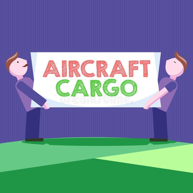 Konceptualny ręki writing pokazuje samolotu ładunek Biznesowa fotografia pokazuje Frachtowego przewoźnika Airmail transportu towa royalty ilustracja