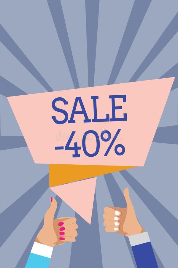 Konceptualny ręki writing pokazuje sprzedaż 40 Biznesowa fotografia teksta A promo cena rzecz przy 40 procentów markdown mężczyzn ilustracja wektor