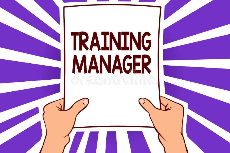 Konceptualny ręki writing pokazuje Stażowego kierownika Biznesowy fotografia tekst daje potrzebnym umiejętnościom dla wysokiego p ilustracji