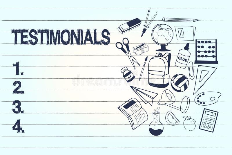 Konceptualny ręki writing pokazuje Testimonials Biznesowego fotografia teksta Formalny oświadczenie zeznaje someone kwalifikacje ilustracji