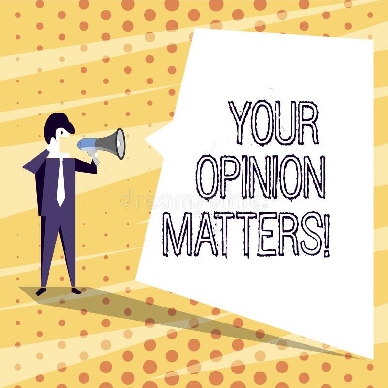 Konceptualny ręki writing pokazuje Twój opinii sprawy Biznesowy fotografia teksta przedstawienie ty ty no zgadzasz się z coś któr ilustracja wektor