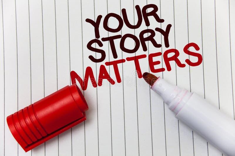Konceptualny ręki writing pokazuje Twój opowieści sprawy Biznesowa fotografia pokazuje część twój doświadczenie dzienniczka Ekspr zdjęcia royalty free