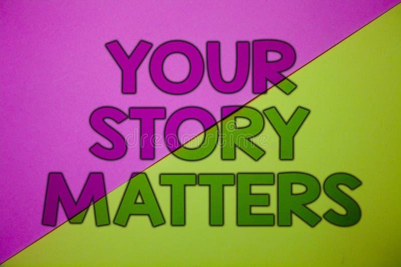 Konceptualny ręki writing pokazuje Twój opowieści sprawy Biznesowa fotografia pokazuje część twój doświadczenie dzienniczka Ekspr obraz royalty free
