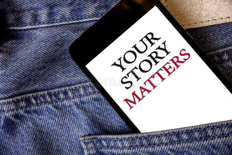 Konceptualny ręki writing pokazuje Twój opowieści sprawy Biznesowa fotografia teksta część twój doświadczenie dzienniczka Ekspres obrazy stock