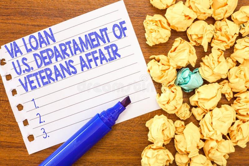 Konceptualny ręki writing pokazuje Va pożyczkę U S Departament weteran sprawy Biznesowe fotografia teksta siły zbrojne pieniężne fotografia stock