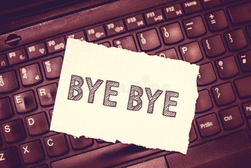 Konceptualny ręki writing pokazuje walkower - walkower Biznesowy fotografia teksta powitanie dla opuszczać pożegnanie Widzii cieb obrazy stock