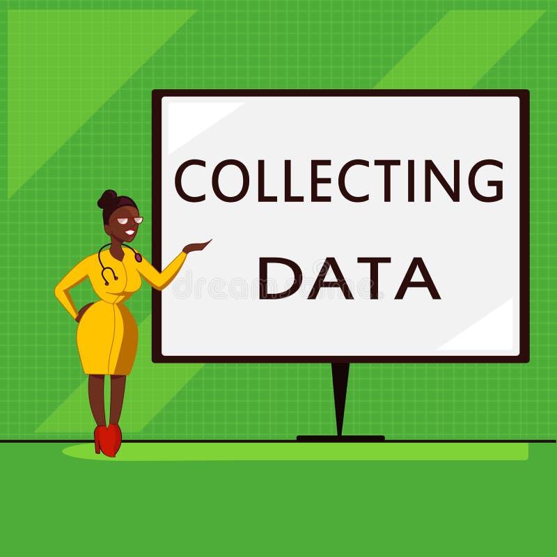 Konceptualny ręki writing pokazuje Zbierackich dane Biznesowa fotografia pokazuje zgromadzenie i pomiarową informację na zmiennac ilustracji