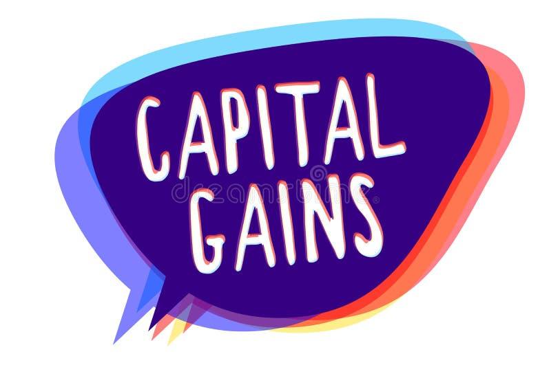 Konceptualny ręki writing pokazuje zyski kapitałowych Biznesowy fotografia tekst Spaja część zapasów zysku podatku dochodowego fu ilustracja wektor