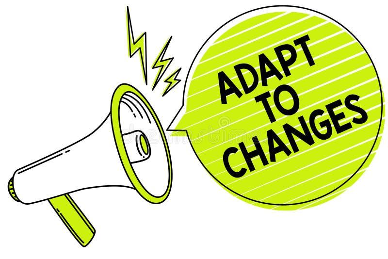 Konceptualny ręki writing seans Adaptuje zmiany Biznesowych fotografia teksta uścisku nowych sposobności adaptaci Wzrostowy postę obrazy stock