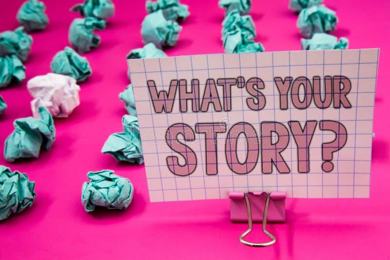 Konceptualny ręki writing seans co jest Twój opowieści pytaniem Biznesowy fotografii pokazywać Łączy Komunikuje łączliwość związe obrazy stock