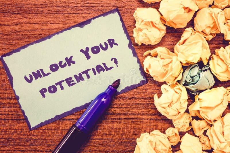 Konceptualny ręki writing seans Otwiera Twój Potencjalnego pytanie Biznesowy fotografii pokazywać Maksymalizuje twój zdolności Us fotografia stock
