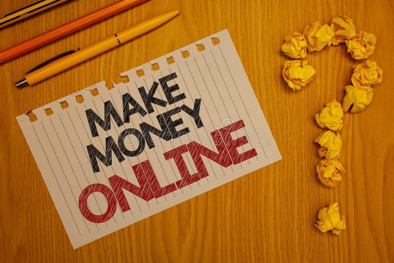 Konceptualny ręki writing seans Robi pieniądze Online Biznesowego fotografia teksta Ecommerce Ebusiness innowaci sieci technologi obrazy royalty free