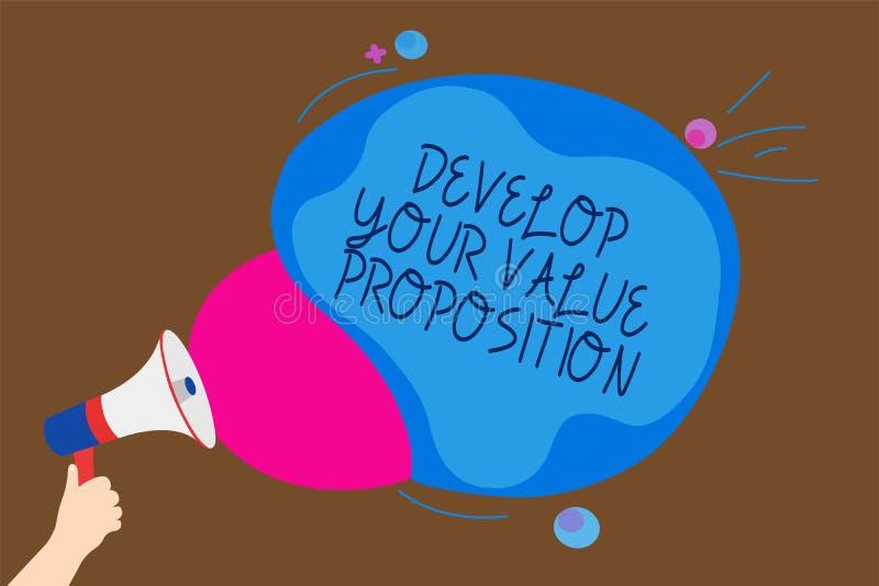 Konceptualny ręki writing seans Rozwija Twój wartości propozycję Biznesowy fotografia tekst Przygotowywa strategii marketingowej  ilustracji