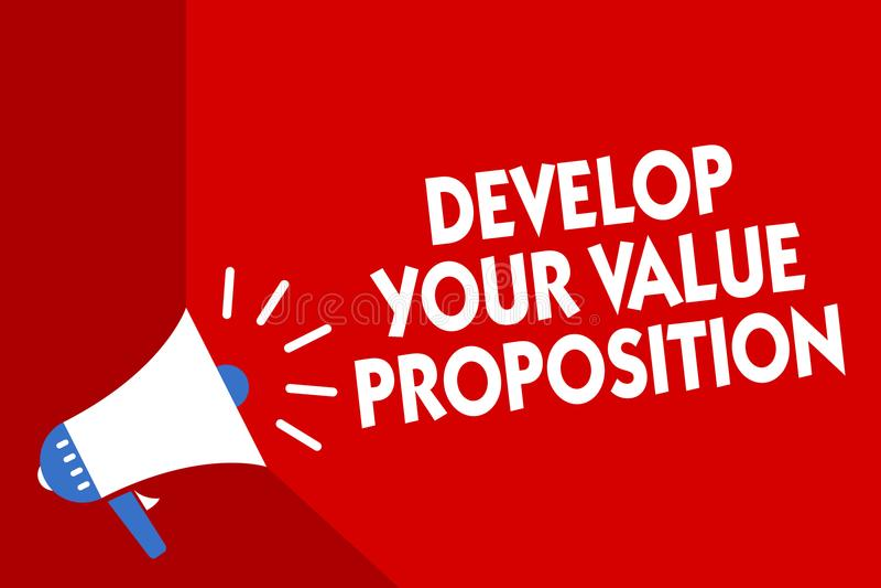 Konceptualny ręki writing seans Rozwija Twój wartości propozycję Biznesowy fotografii pokazywać Przygotowywa strategii marketingo royalty ilustracja