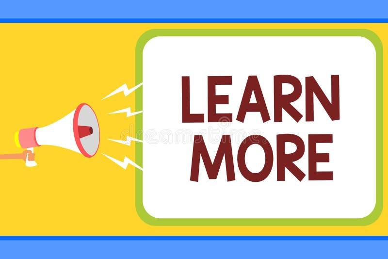 Konceptualny ręki writing seans Uczy się Więcej Biznesowy fotografia tekst Pogłębia wiedzę rzecz ty chcesz robić lub nowy umiejęt royalty ilustracja