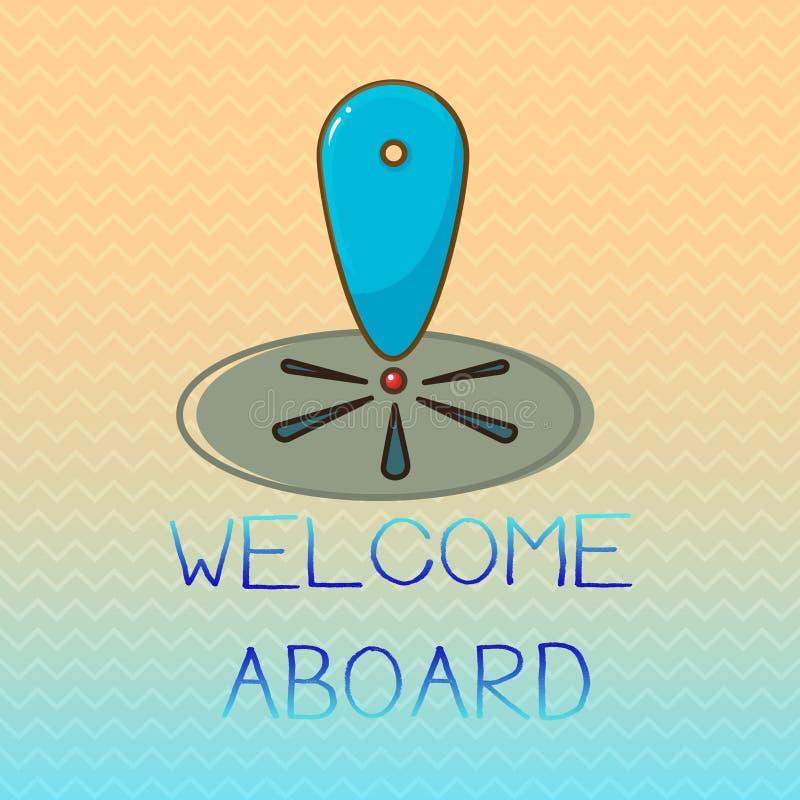 Konceptualny ręki writing seansu powitanie Aboard Biznesowa fotografia pokazuje wyrażenie powitania osoba czyj przyjeżdżał jest d ilustracja wektor